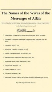 namen van de vrouwen van de Profeet