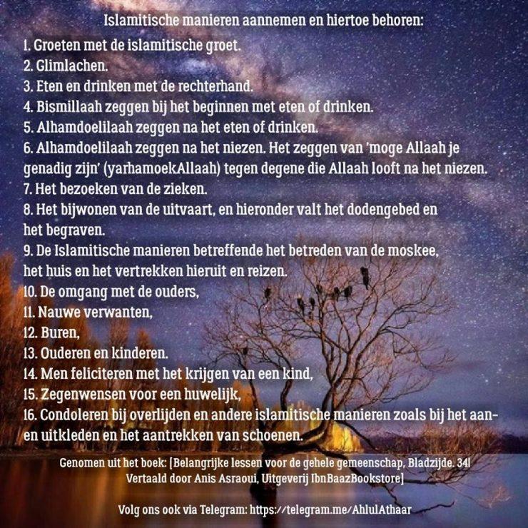 islamitische manieren, islamitische gedrag